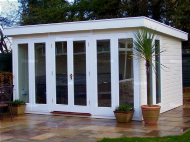 Pent garden office 792 double glazed insulated for Insulated garden buildings
