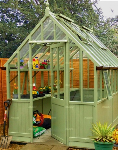 Painted Cedar Victorian Greenhouse 631 Part Boarded