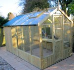 Thermowood Wooden Greenhouse 212 - Built In Shed