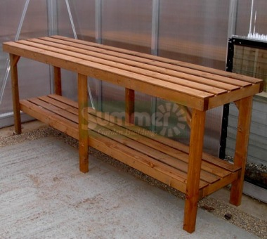 Heavy duty wooden 2 tier staging 324 - Wooden staging for greenhouse ...