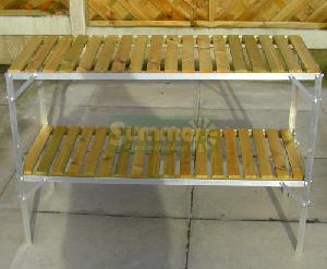 GREENHOUSES xx - Staging 2 tier wooden slatted