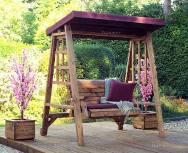 2 Seater Swing Seat 463 - Burgundy Canopy