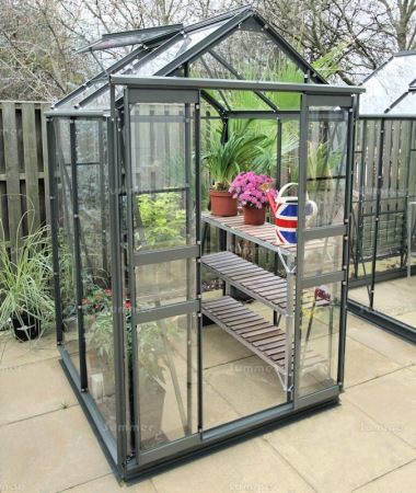 Green Aluminium Greenhouse 10 - Double Door