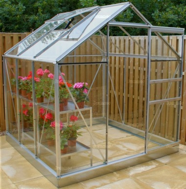 Aluminium Greenhouse 12 - Silver, Toughened Glass
