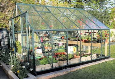 Large Green Aluminium Greenhouse 522 - Double Door