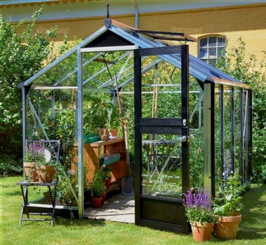 Aluminium Greenhouse 401 - Base Included, Hinged Door