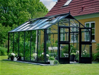 Aluminium Greenhouse 403 - Base Included, Hinged Door