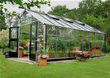 Aluminium Greenhouse 405 - Base Included, Hinged Door