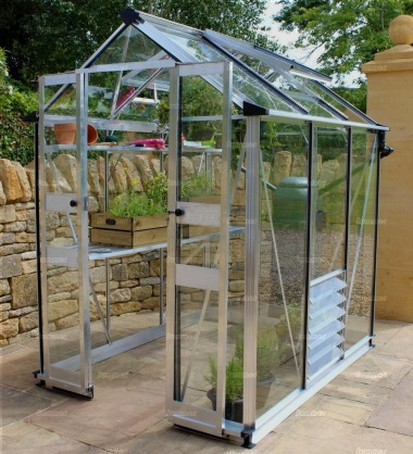 Aluminium Greenhouse 242 - Silver, Zero Threshold Doorway
