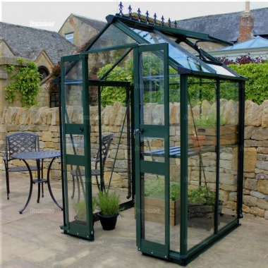 Aluminium Greenhouse 243 - Green, Zero Threshold Doorway