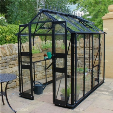 Aluminium Greenhouse 244 - Black, Zero Threshold Doorway