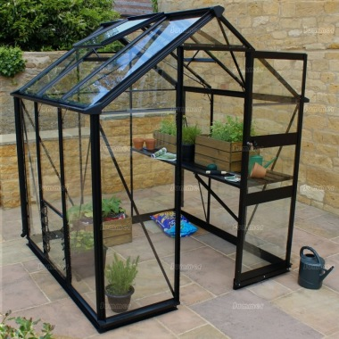 Aluminium Greenhouse 249 - Black, Zero Threshold Doorway