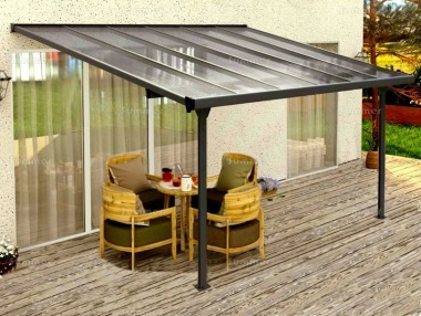 Aluminium Lean To Gazebo 372 - Adjustable Height, Polycarbonate Roof