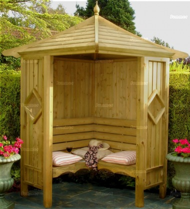 Corner Arbour 088 - Bench Seats, Wooden Slatted Roof