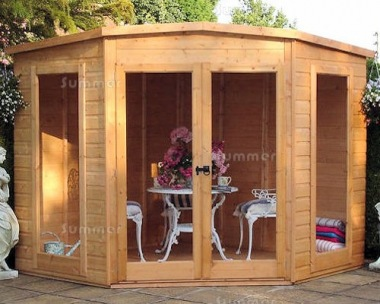 Corner Summerhouse 105 - Shiplap, Large Panes