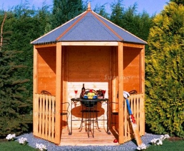 Wooden Gazebo 084 - Hexagonal, T and G Floor