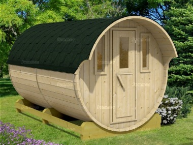 Log Barrel Sauna 994 - 2 Rooms, Slatted Benches, Felt Tiles
