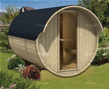 Log Barrel Sauna 996 - 2 Rooms, Slatted Benches, Felt Tiles