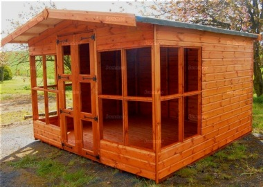 Apex Summerhouse 349 - Low Level Glazing, Double Door