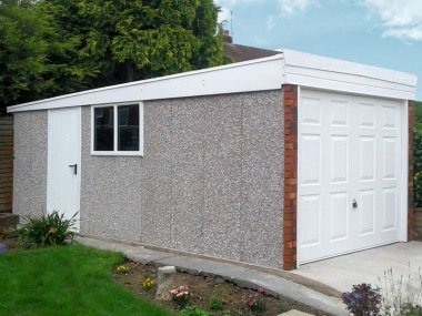 Spar Pent Concrete Garage 230 - Brick Posts, PVCu Window and Fascias
