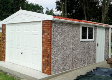 Spar Apex Concrete Garage 260 - Brick Posts, PVCu Window and Fascias