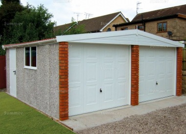 Spar Apex Double Concrete Garage 263 - Brick Posts, PVCu Windows and Fascias