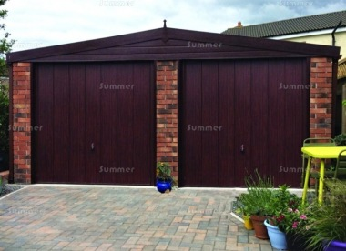 Spar Apex Double Concrete Garage 304 - Dark Woodgrain, Brick Posts