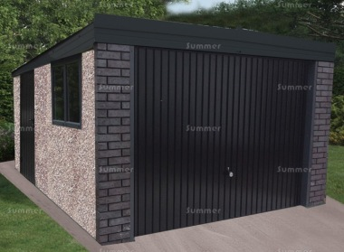 Spar Pent Concrete Garage 348 - Charcoal, Brick Posts
