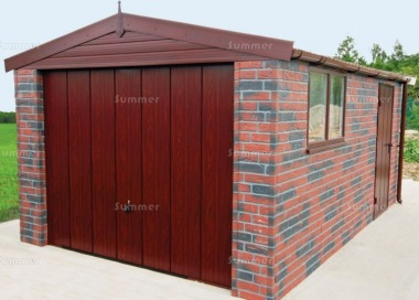 Brick Apex Concrete Garage 441 - Dark Woodgrain Finish