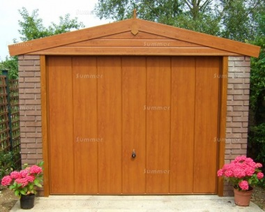 Brick Apex Concrete Garage 451 - Light Woodgrain Finish