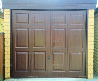 Brick Pent Concrete Garage 461 - Dark Woodgrain Finish