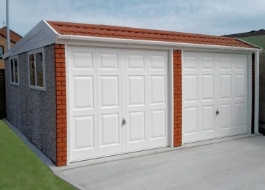 Spar Double Concrete Garage 648 - Brick & Tiled Front, Personnel Door