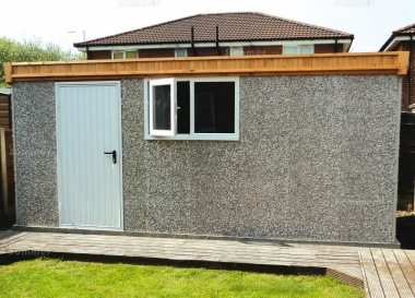 Spar Pent Concrete Shed 494 - Steel Door, PVCu Window
