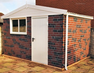 Brick Apex Concrete Shed 881 - PVCu Window and Fascias