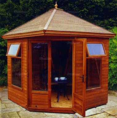 Corner Summerhouse 651 - Low Level Glazing, Double Door
