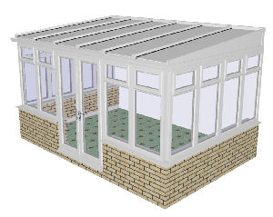 Lean to Conservatory 48 - PVCu, Dwarf Wall