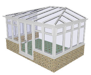 Hipped Conservatory 50 - PVCu, Dwarf Wall