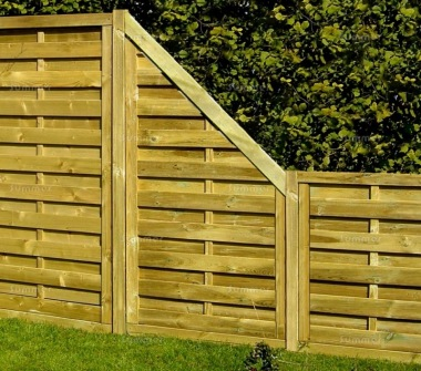 Fence Panel 415 - Stepped Height, All Planed, 9mm Boards, 3x2 Frame