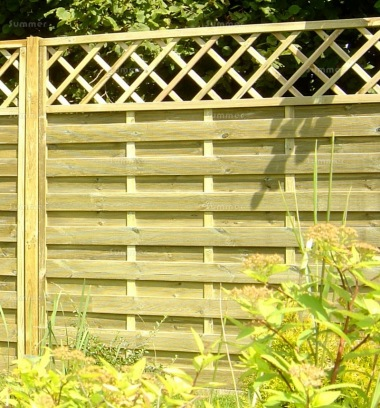 Fence Panel 430 - Planed Timber, 9mm Reeded Boards, 2x2 Frame