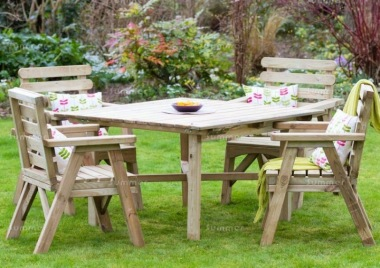 Pressure Treated 4 Seater Dining Set 898 - Armchairs, Square Table