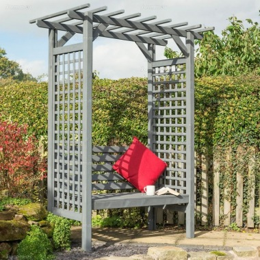 Arbour 353 - Grey Finish, Square Trellis