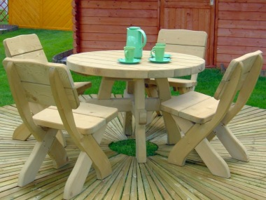 4 Seater Dining Set 374 - Pressure Treated, Chunky Pine