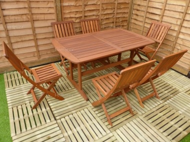 6 Seater Hardwood Set 135 - Folding Chairs, Extending Table