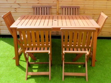 6 Seater Hardwood Set 140 - Folding Chairs
