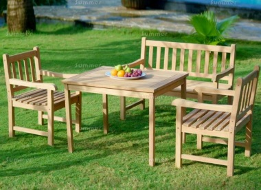 4 Seater Teak Bench Set 182 - With Armchairs