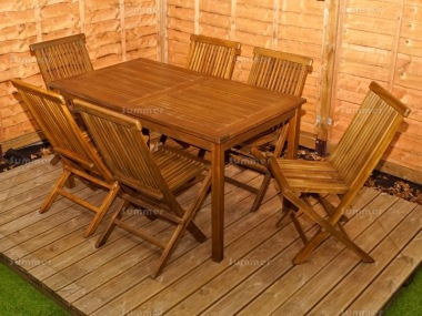 6 Seater Teak Set 190 - Folding Chairs, Rectangular Table