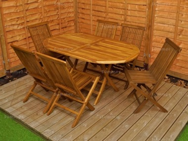 6 Seater Teak Set 191 - Folding Chairs, Folding Table