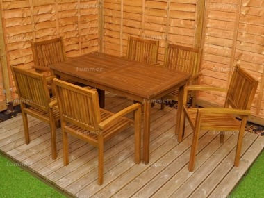 6 Seater Teak Set 198 - Stacking Armchairs, Rectangular Table