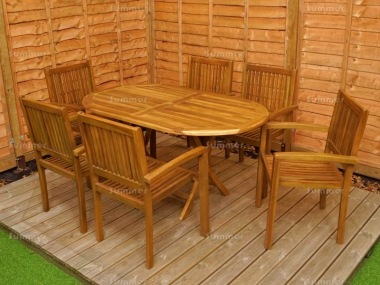 6 Seater Teak Set 199 - Stacking Armchairs, Folding Table