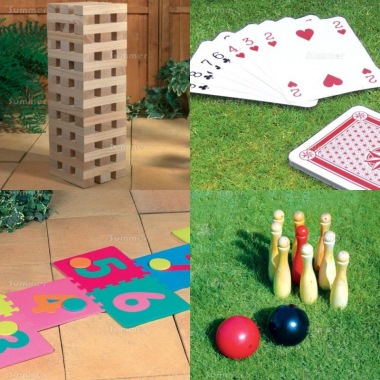 Multi Pack 521 - Wooden Blocks, Playing Cards, Hopscotch and Skittles